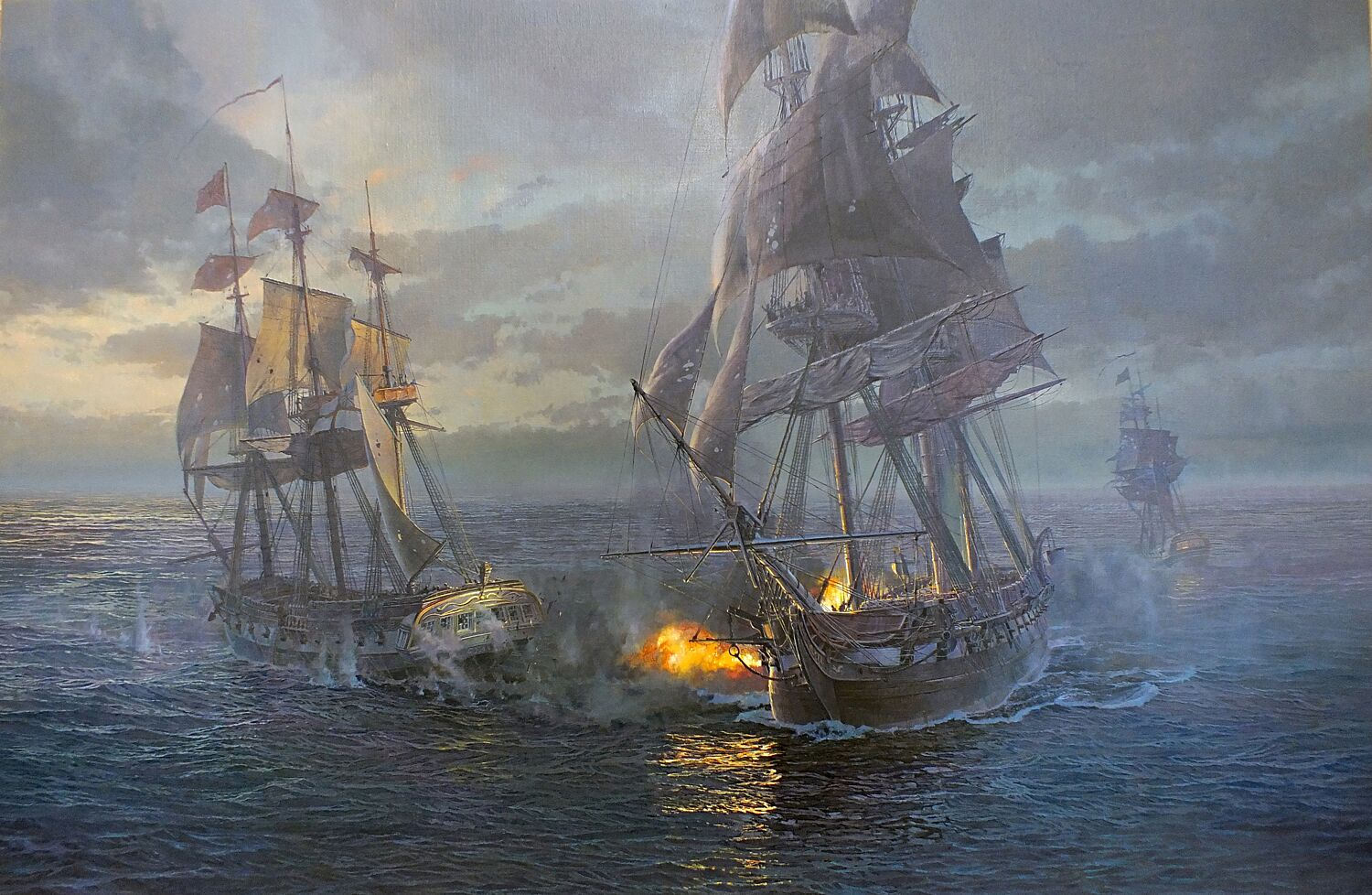 Maarten Platje,  Action in the Mid Atlantic, the Capture of HMS  Cyane  and HMS  Levant ,  2018. Oil on linen.