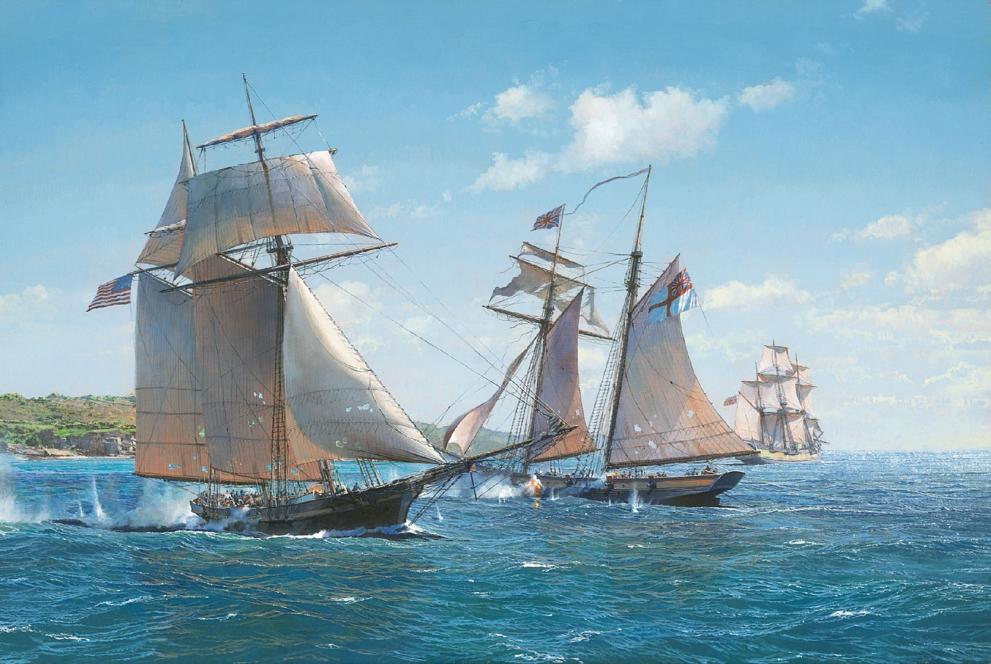 Maarten Platje,  Victory at Bermuda, the Capture of the HMS  Dominica  by American Privateer  Decatur, 2018. Oil on linen.