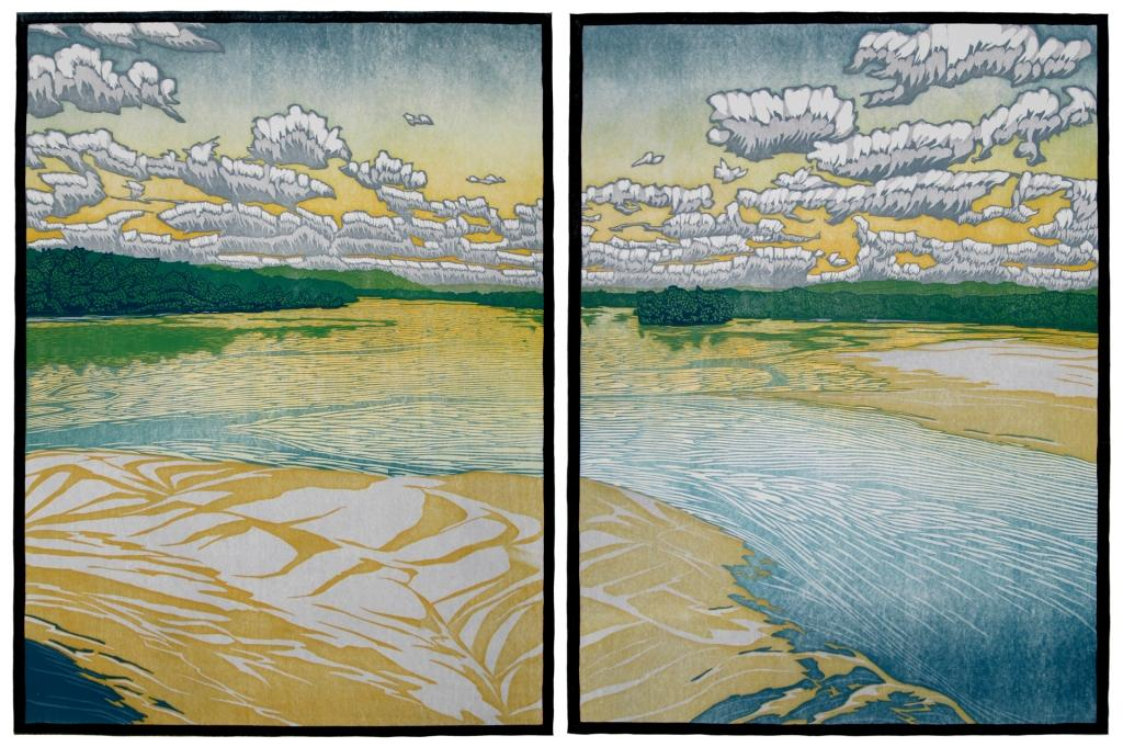Nick Wroblewski,  Sand in Accordance to Water,  2012. Reduction woodblock print.