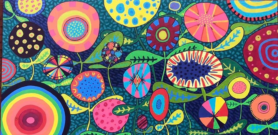 Sarah Johnson,  Full Blooms,  2019. Latex mural on panel.