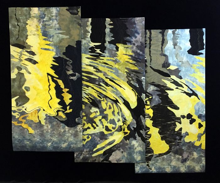 Barbara Schneider,  Reflections in a Canal, Venice, Triptych.  Hand-dyed cotton, commercial fabric