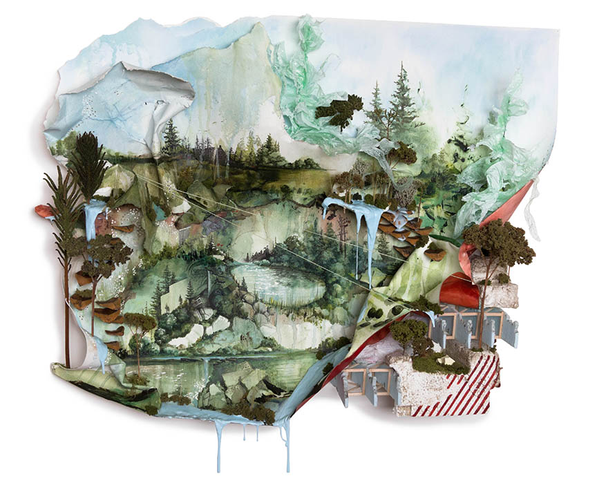 Gregory Euclide (American, b. 1974),  What I Found at the Falls What Cautions Release on the Land , 2013, mixed media.