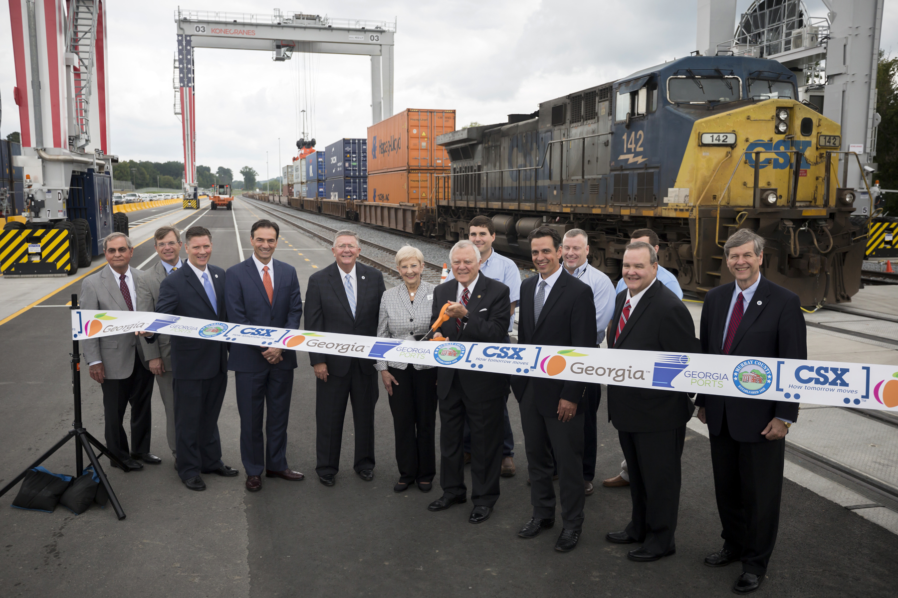 Gov. Nathan Deal, center, cuts a ribbon during the Grand Opening of the Appalachian Regional Port near Chatsworth, Ga., Wednesday, Aug. 22, 2018. Improved rail access to the area has led to increased interest from manufacturers and logistics services. The inland terminal will be operated by the Georgia Ports Authority and served by CSX. Find print quality images  here . Learn more about the Appalachian Regional Port  here.  (Georgia Ports Authority / Stephen B. Morton)