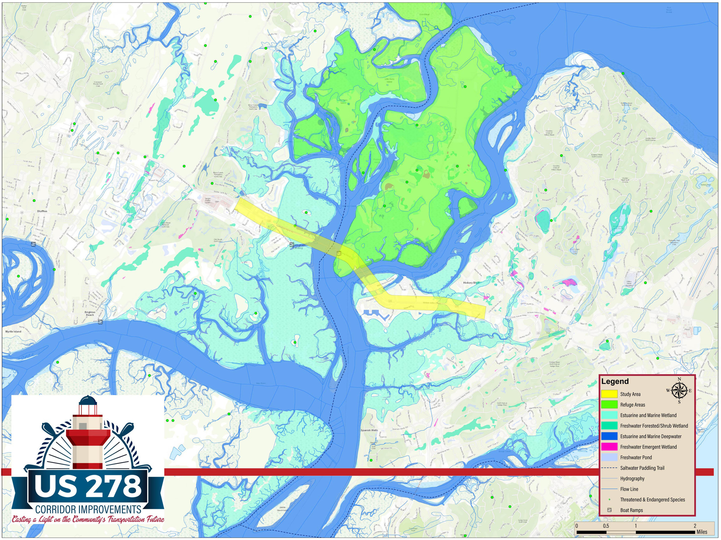 Environmental Basemap - The Environmental Basemaps shows the environmental features adjacent to the US 278 corridor. It shows features such as wildlife refuge areas, wetland types, saltwater paddling trails, hydrography, threatened and endangered species, and boat ramps.