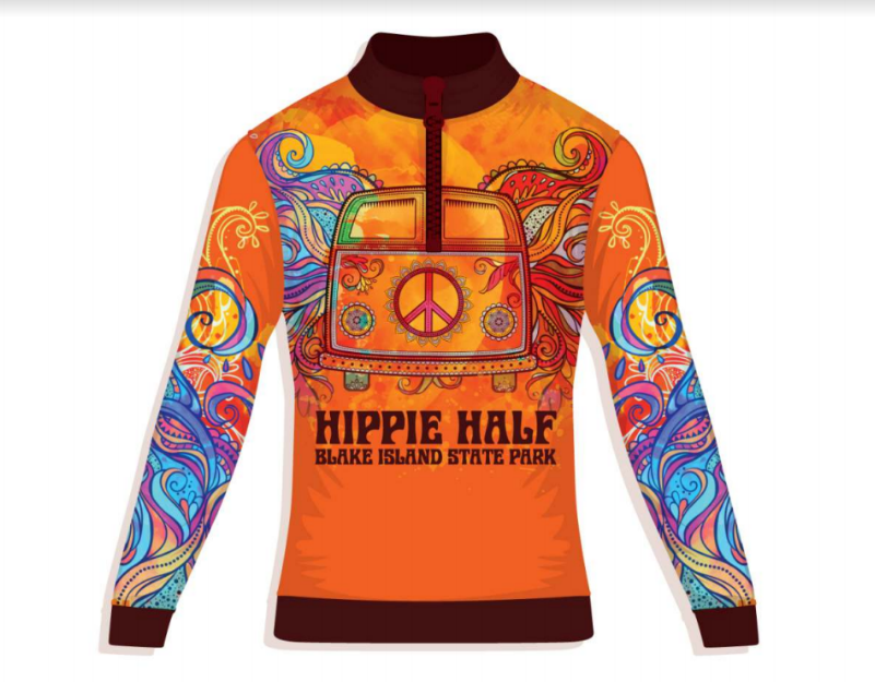Finisher's shirt for both races! 1/4 zip sublimated long sleeve technical shirt.