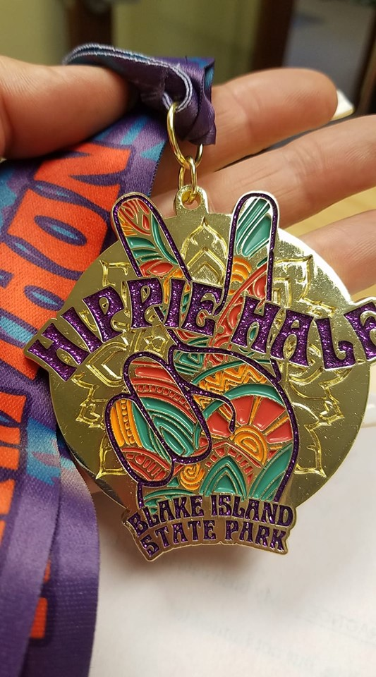 Finisher's Medal for the Hippie Half Marathon