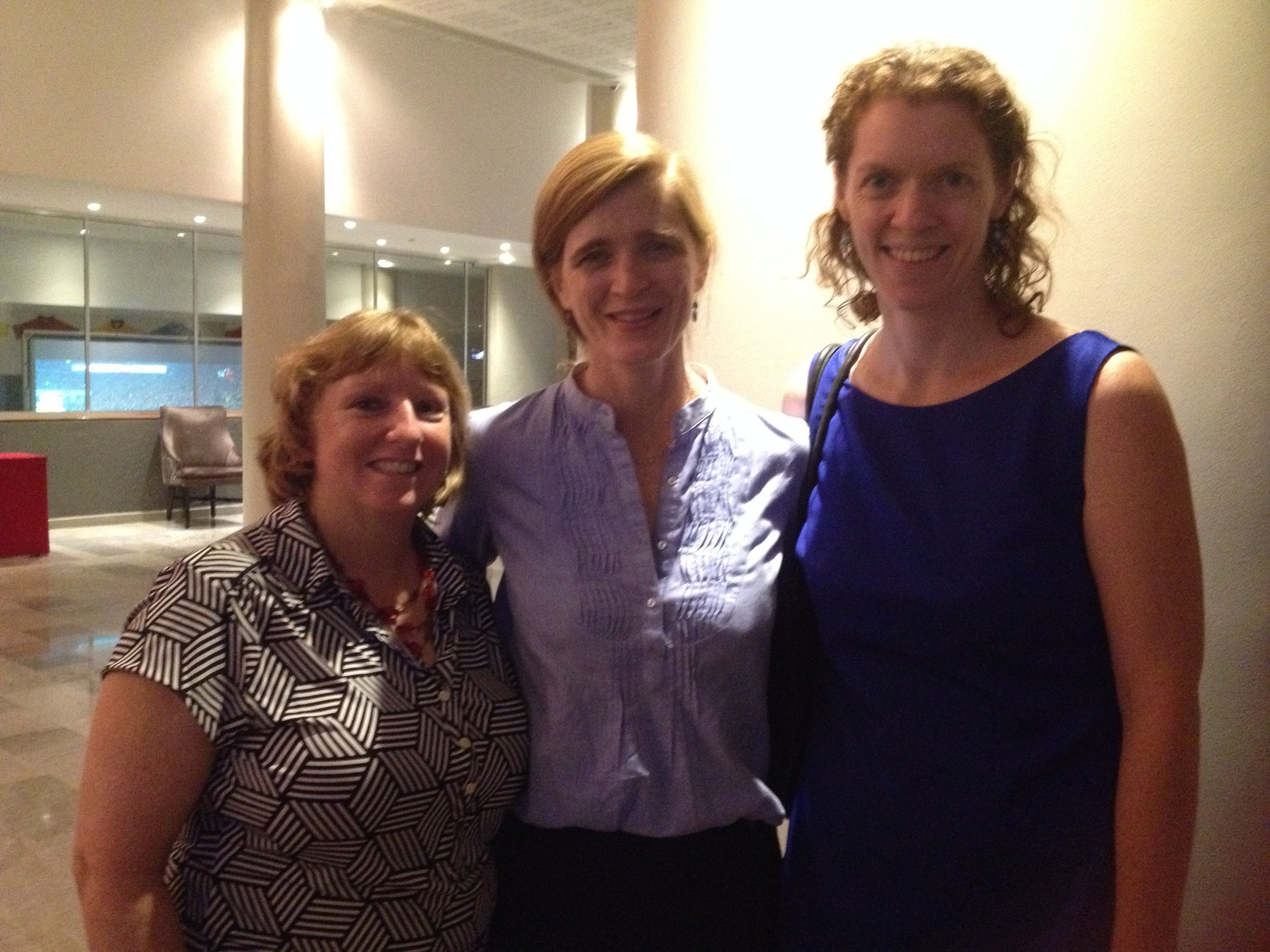 Sinead and Kathleen from US with Samantha Power.JPG