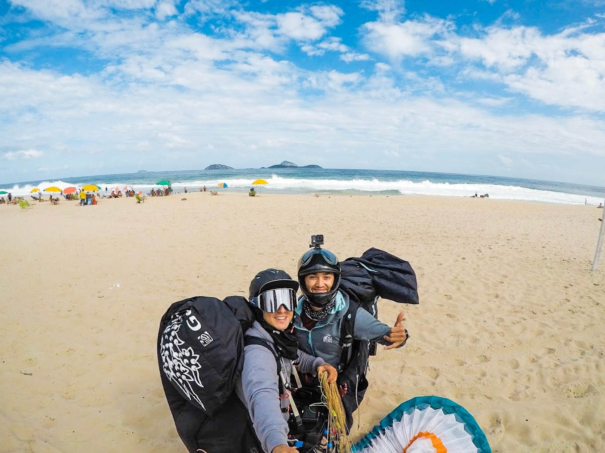 Landing on the beach in Rio de Janiero