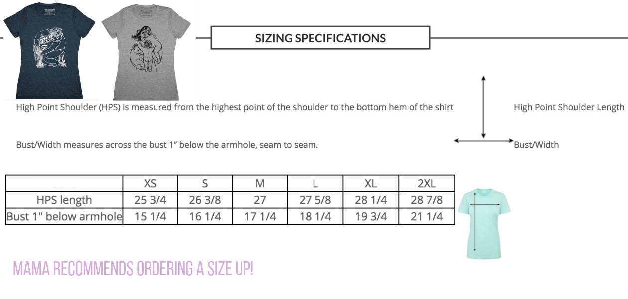 Group Hug Fitted Tee Measurements