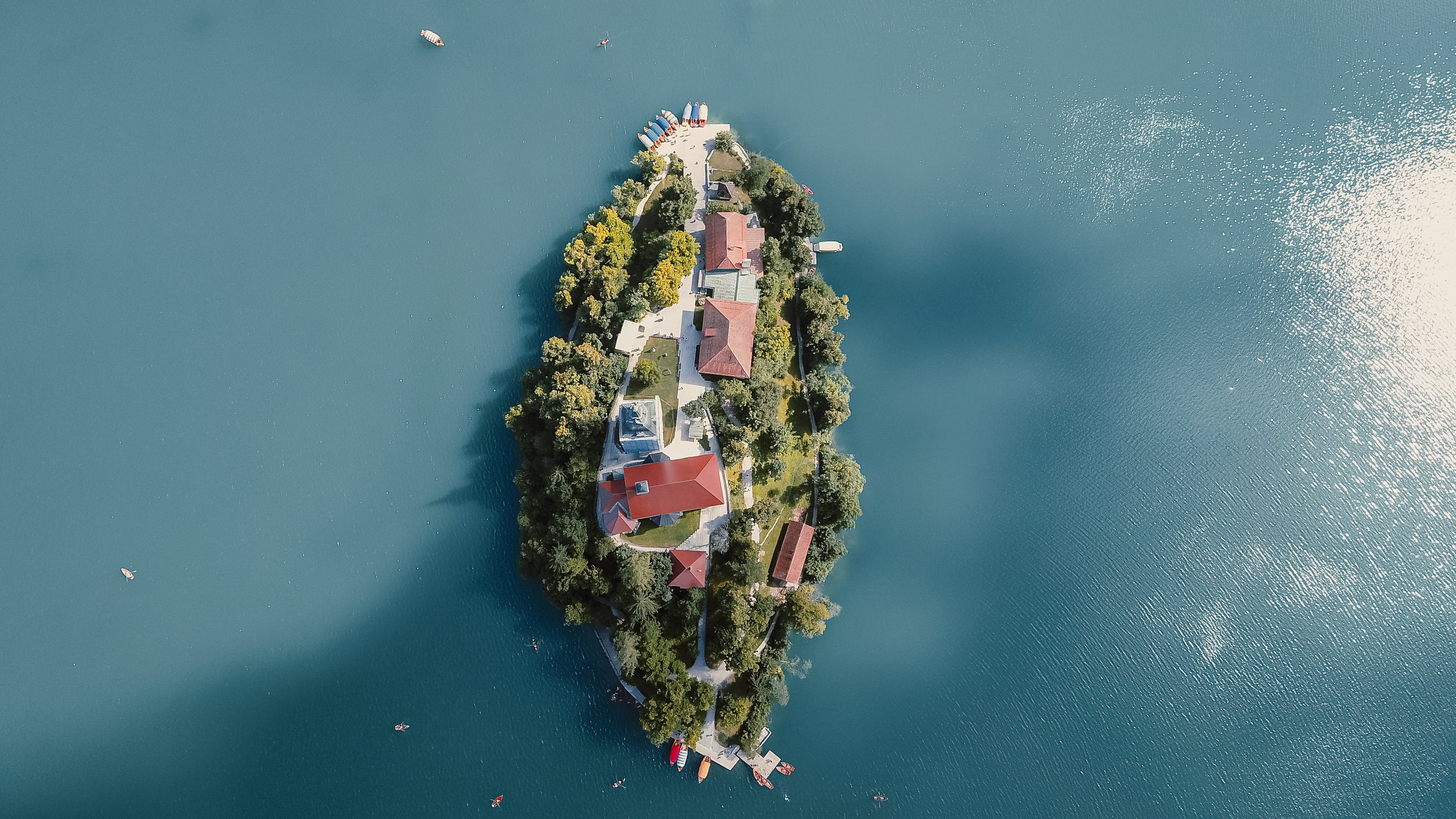 Private island with houses.