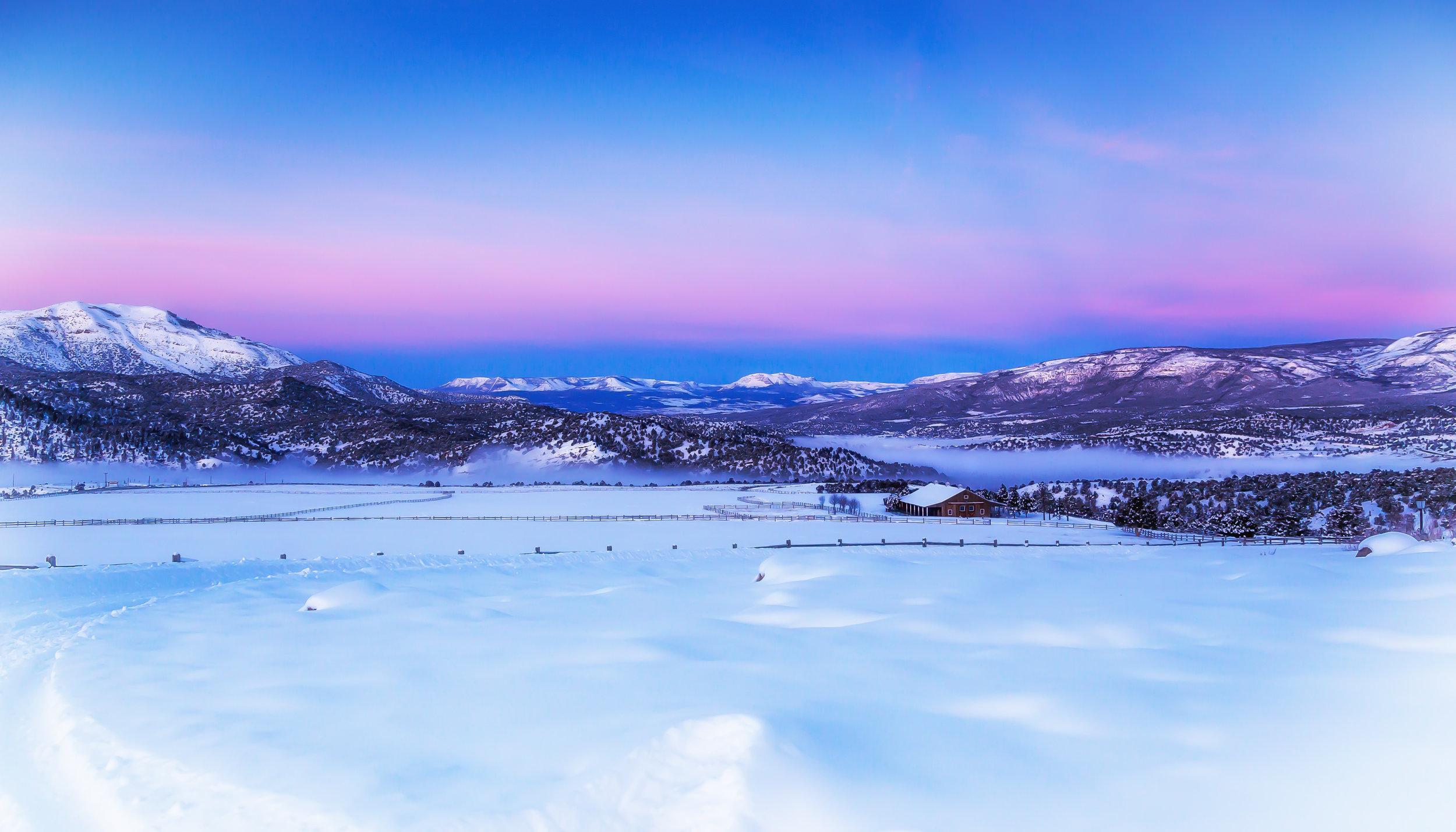 Beautiful winter scenery at sunset.