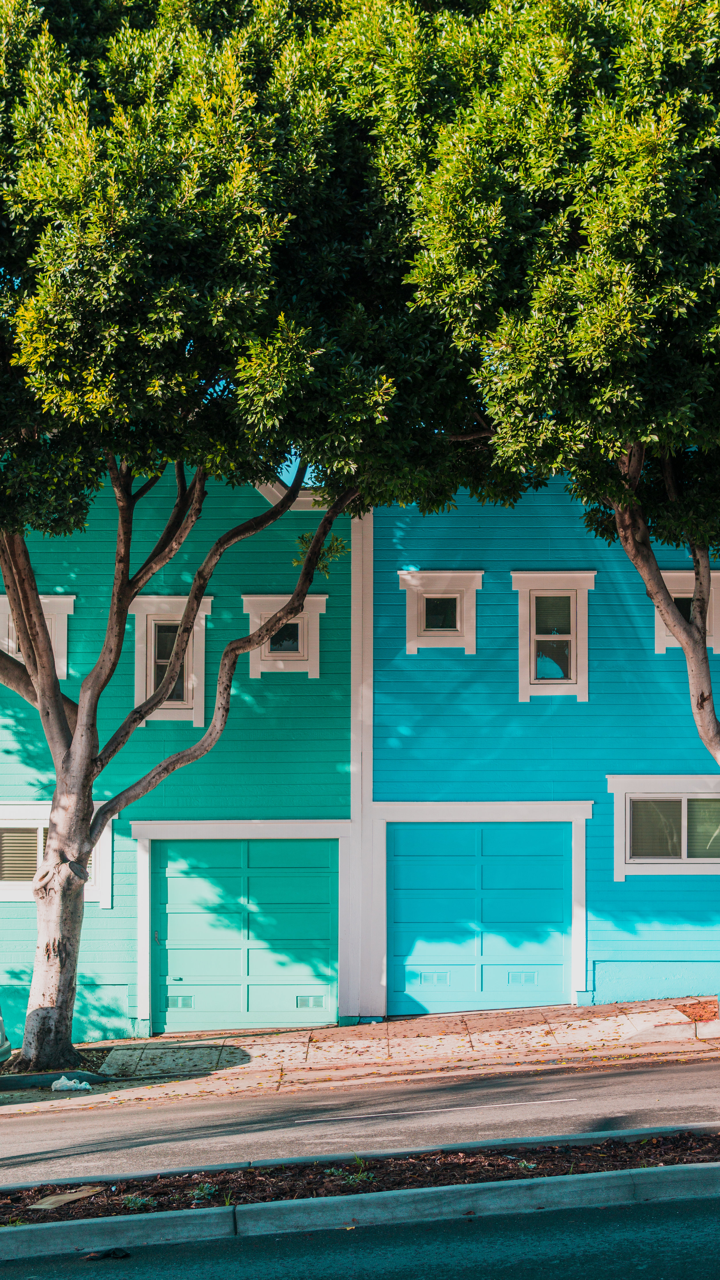 Cute attached houses that are bright colors.