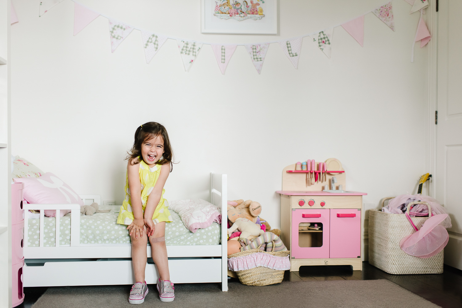 cute girl in lifestyle family photo session at home in Parnell by Auckland family photographer Sarah Clayton