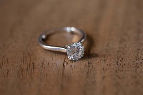 """Original Solitaire, now set with Moissanite and used as a """"travel"""" ring - 7mm Moissanite"""