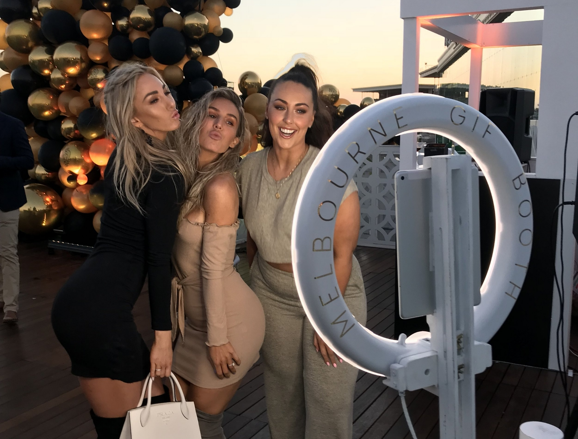 Bondi Sands     Venue: Caulfield Racecourse, Melbourne    MGB Highlights: Ashy Bines & co loving the booth…