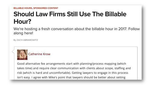 Moving BeyondThe Billable Hour - ABOVETHELAW PANEL: SHOULD LAW FIRMS STILL USE THE BILLABLE HOUR?