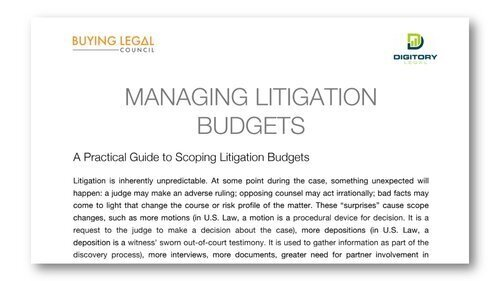Managing Costs - MANAGING LITIGATION COSTS: A GUIDE TO SCOPING LITIGATION BUDGETS
