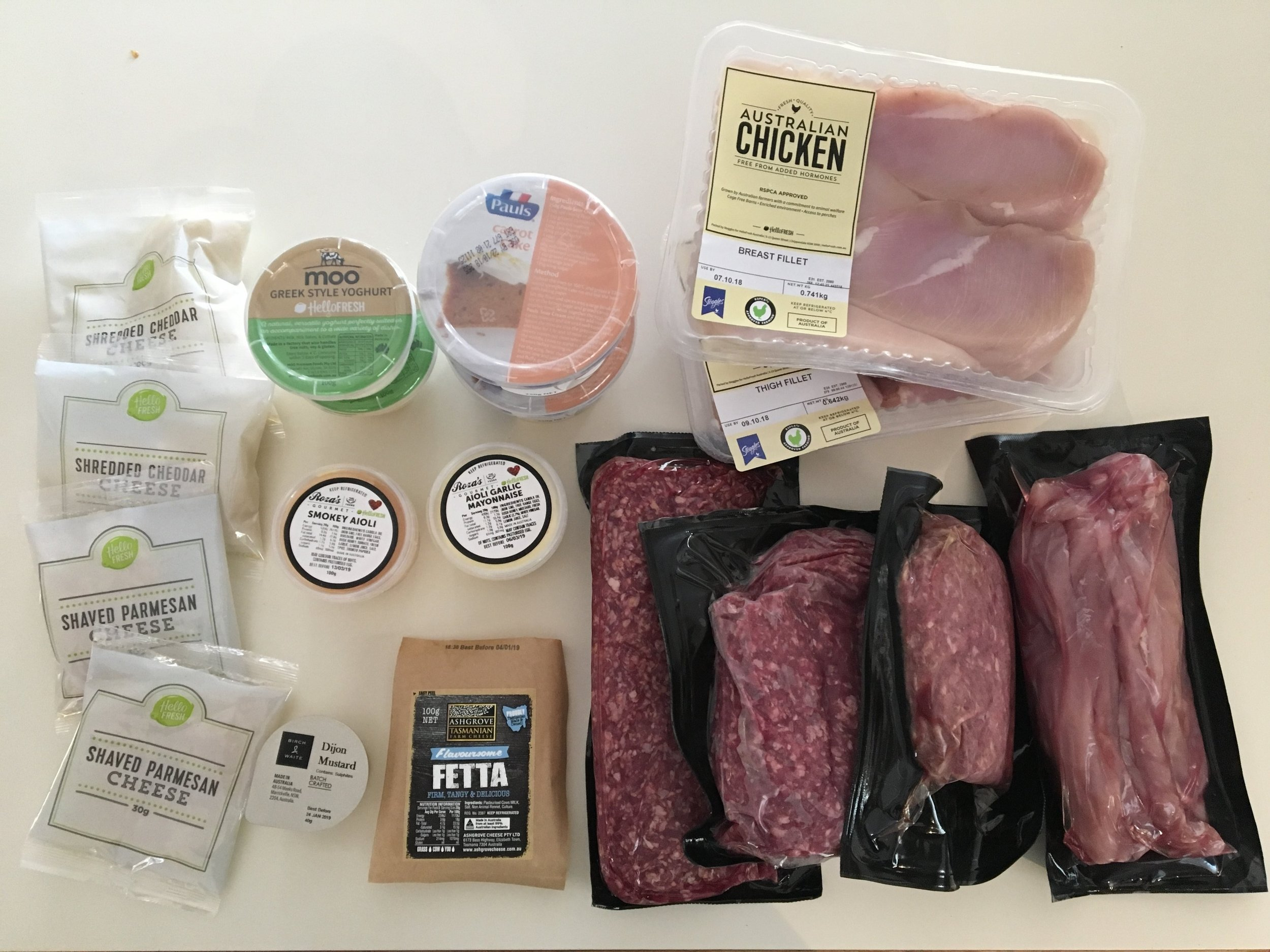 Chilled ingredients for week one