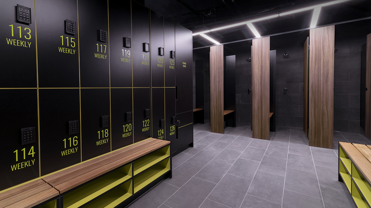 Lockers and partitions at 300 LaTrobe Street by Lockin Lockers