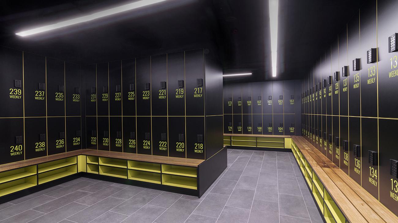 300 LaTrobe Street lockers and shoe shelf seat by Lockin