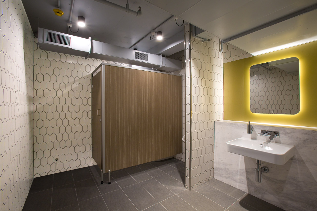 222 exhibition street, toilet partitions by Lockin