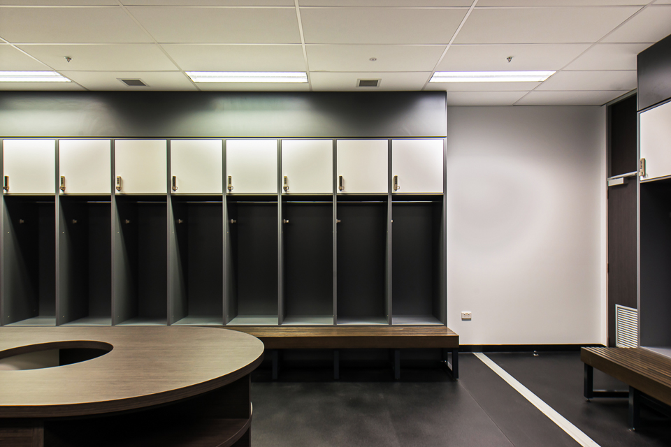 Change room lockers with lockable cabinet