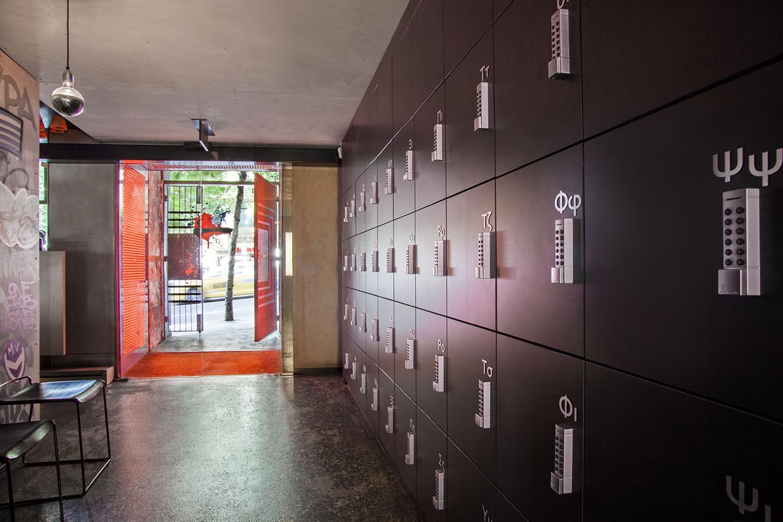 Gazi restaurant lockers in entry way by Lockin