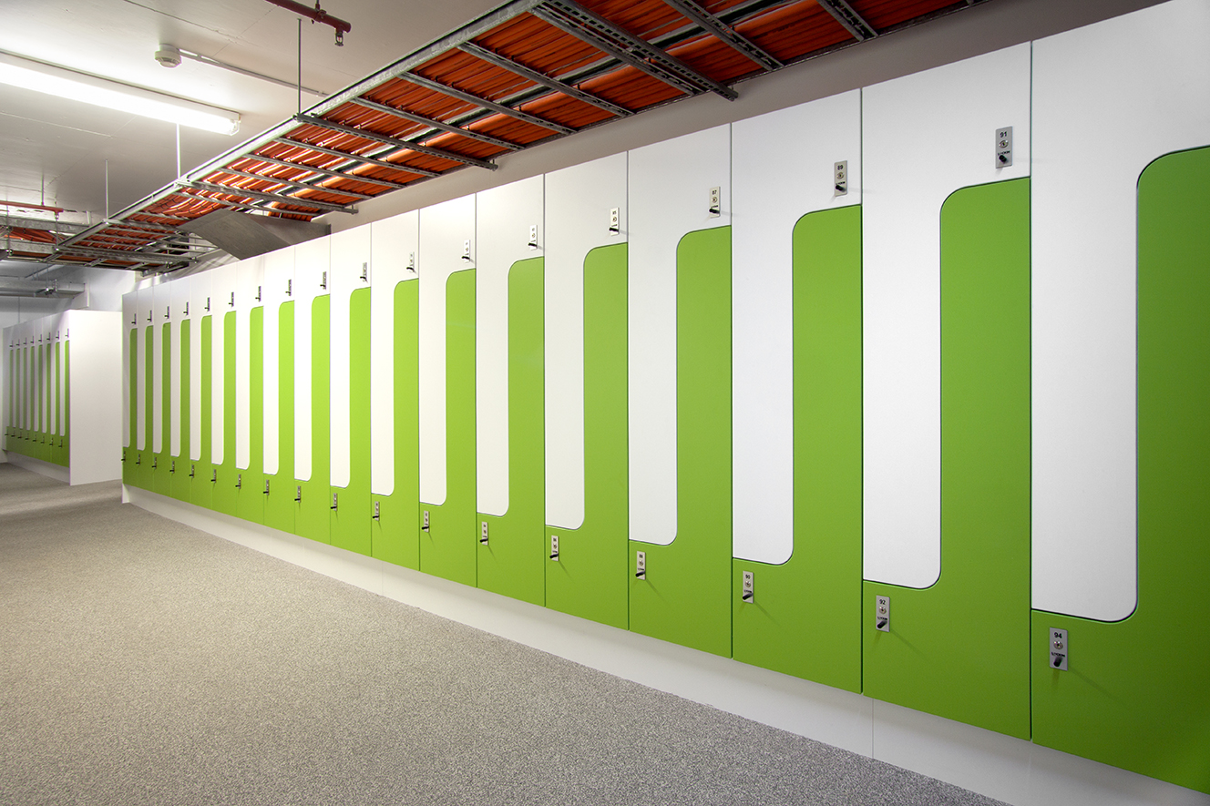 Metro trains green and white PL2 lockers by Lockin