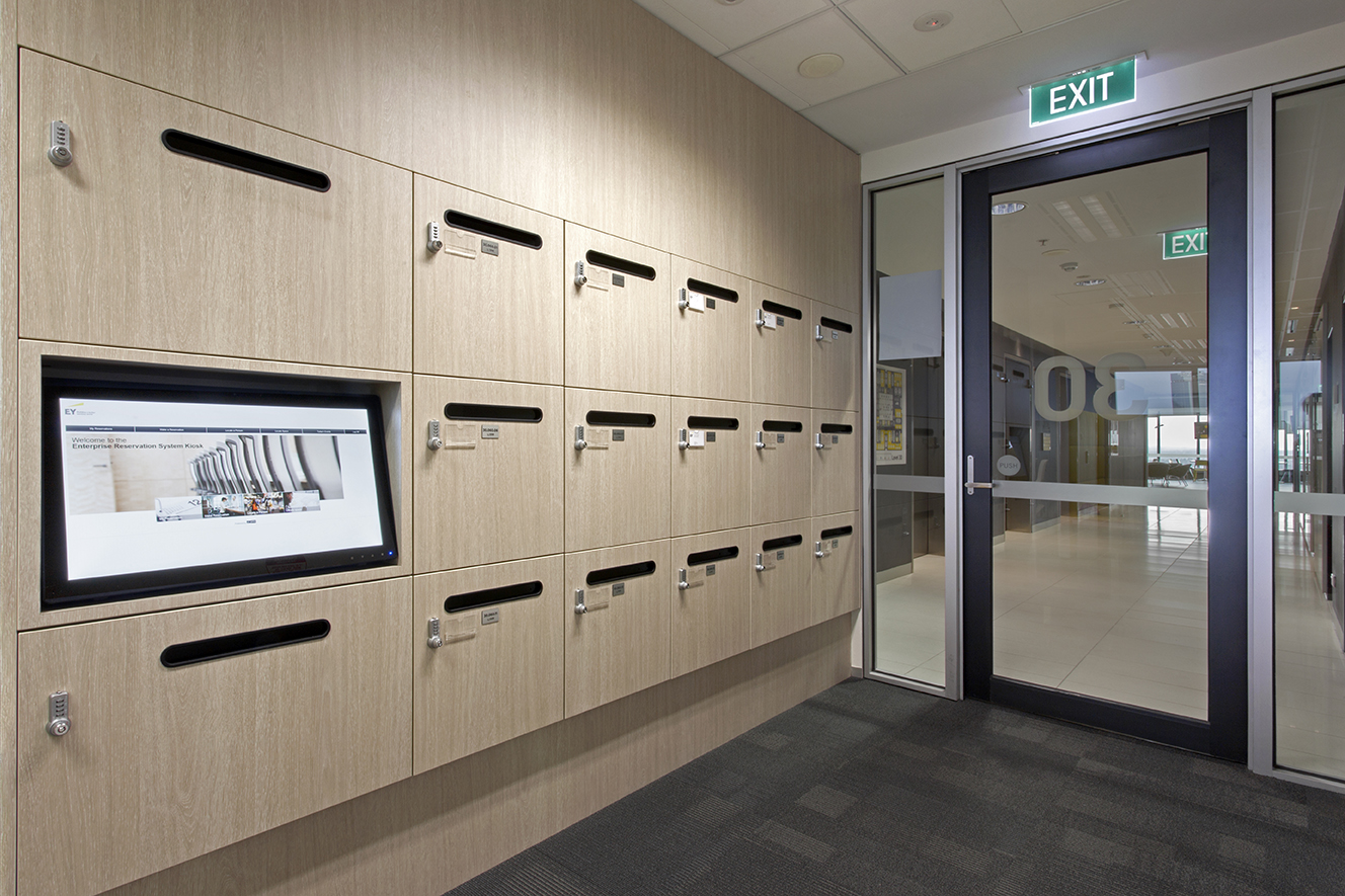 Integrated screens in Ernst & Young lockers