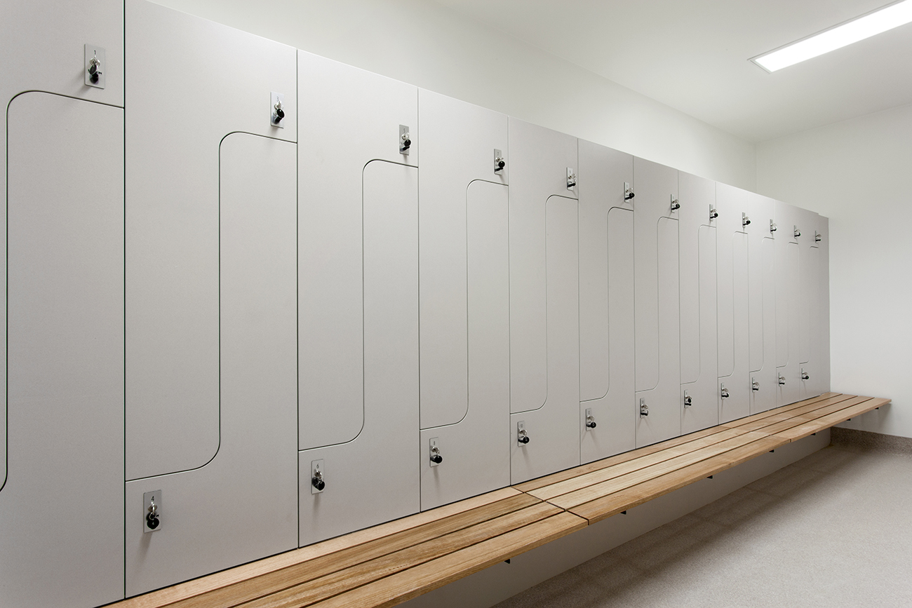 Grey PL2+ lockers with bench seating at Audi Doncaster by Lockin