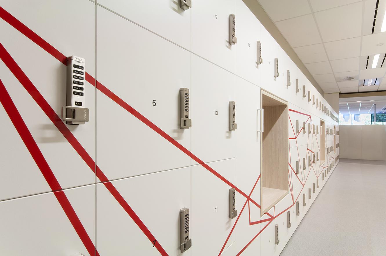 CGU office lockers by Lockin with custom graphics