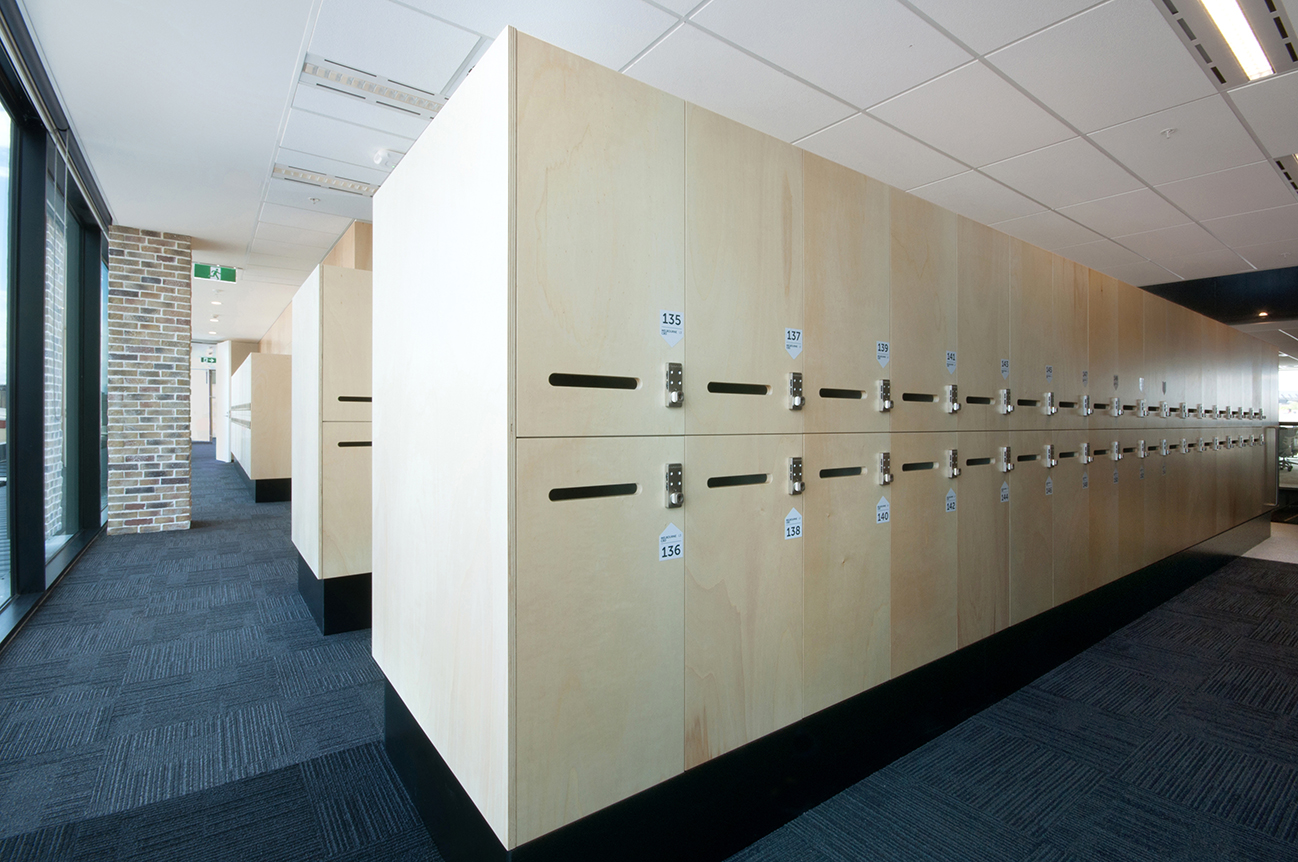 Plywood lockers with mail chute and combination lock by Lockin