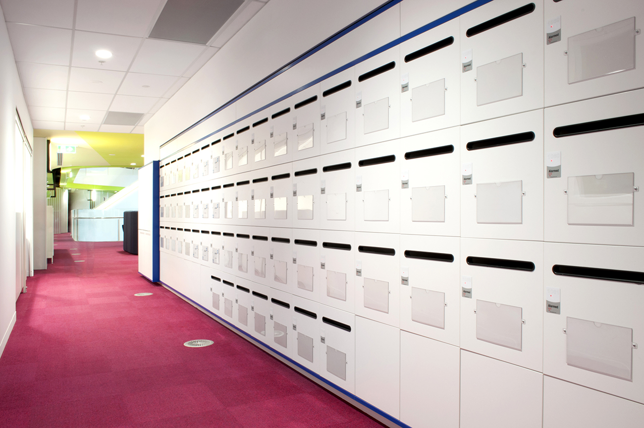 Medibank lockers with mailchute and name plate by Lockin