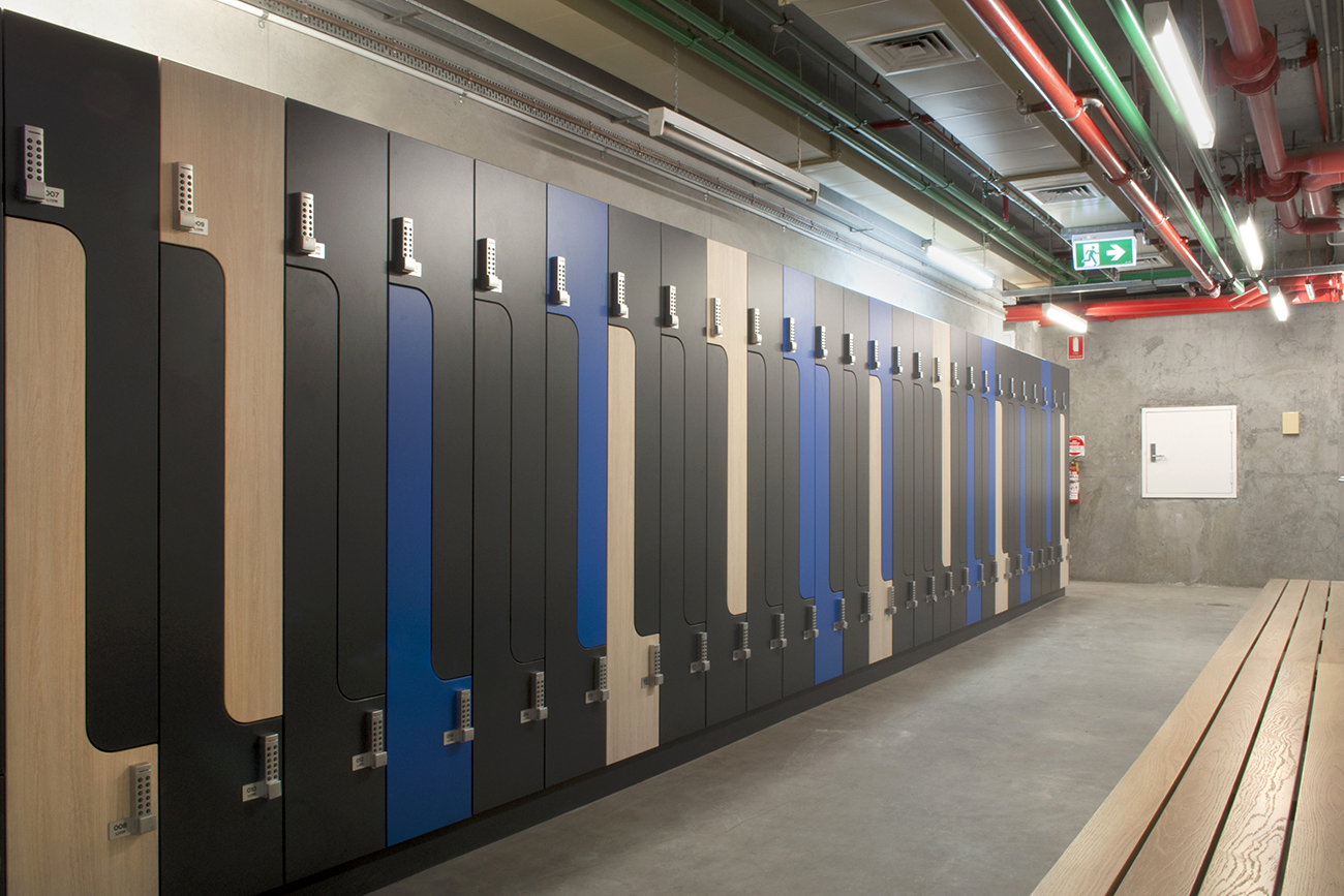 Multi coloured lockers and bench seating at 600 St Kilda Road Melbourne