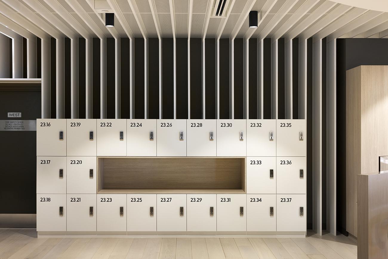 Transurban lockers with custom joinery by Lockin