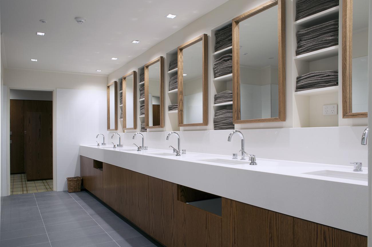 Vanities and towel storage by Lockin lockers
