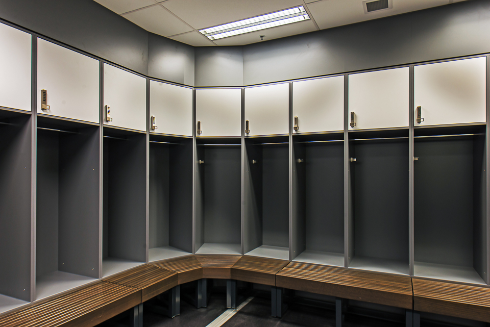 Melbourne Rebels lockers and bench seats