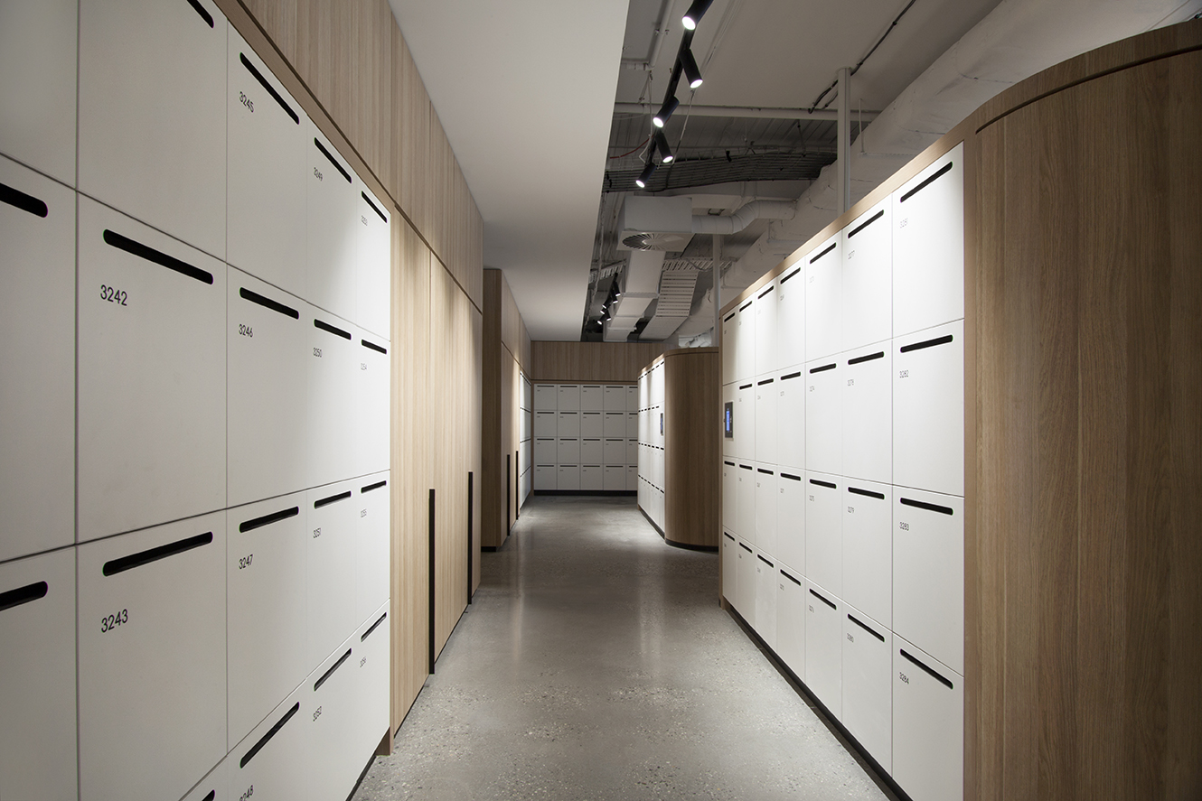 800 Collins Street lockers with custom joinery by Lockin