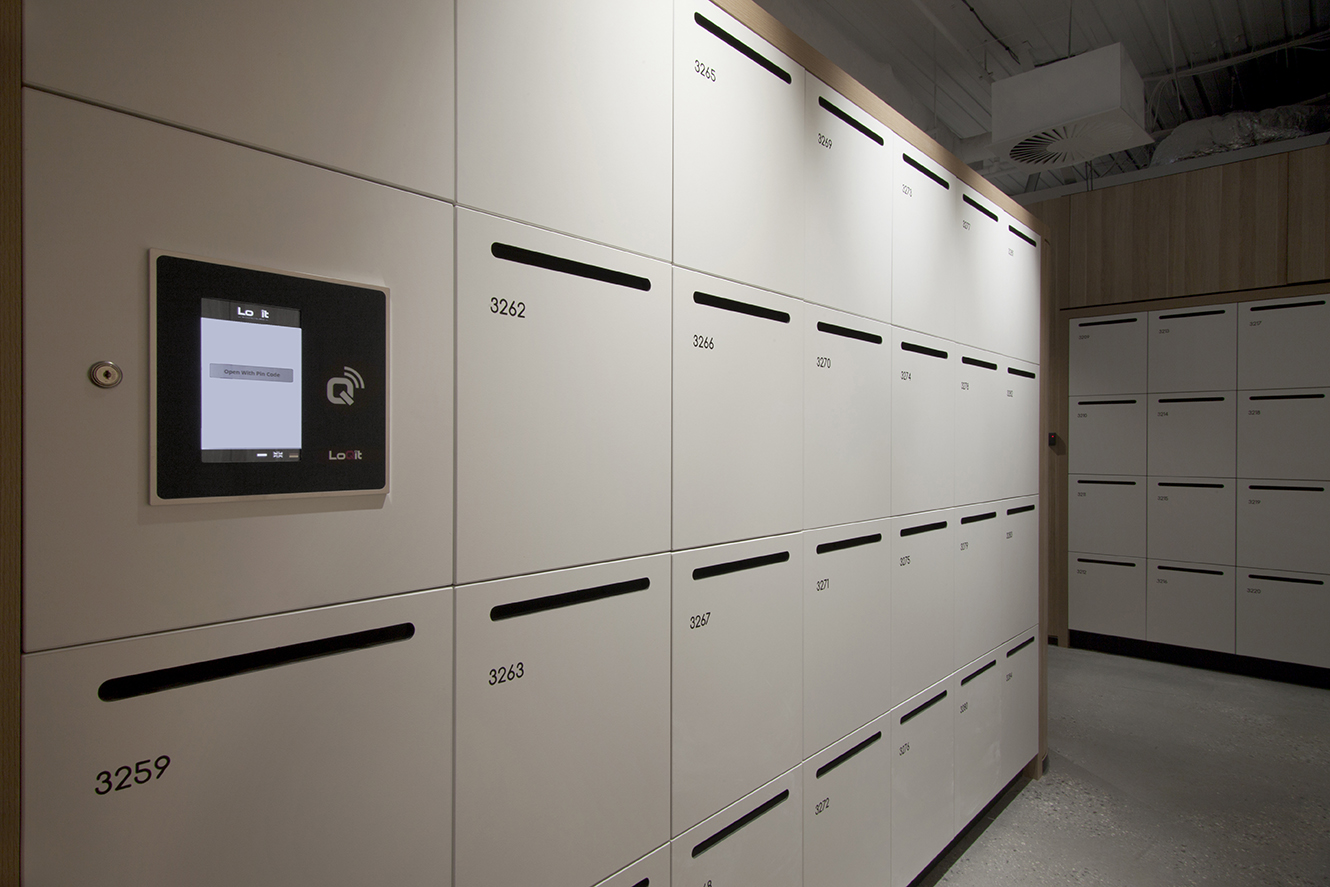 800 Collins Street lockers featuring the LoQit lock