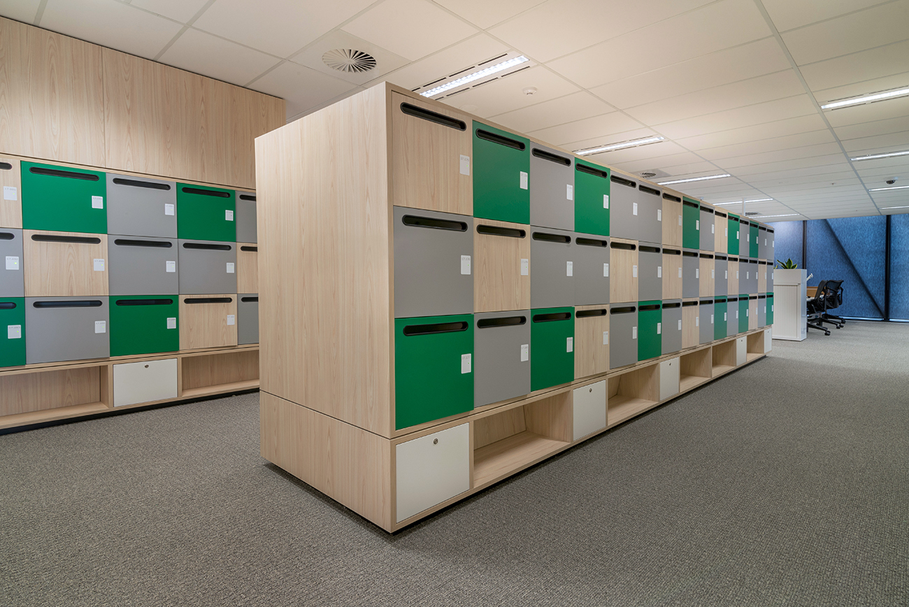 Green and white lockers at NBN activity-based-work