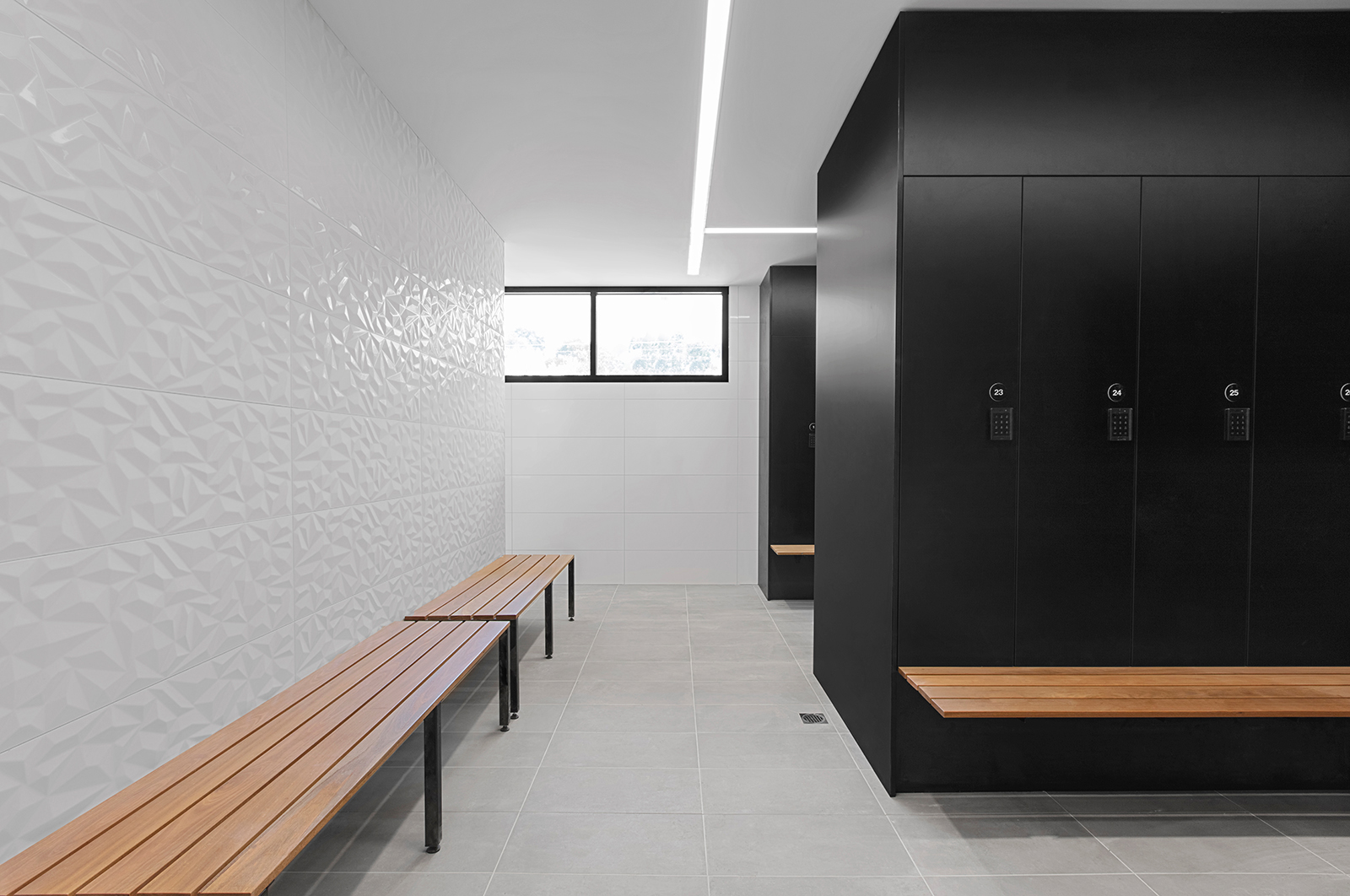 Timber bench seating and lockers by Lockin