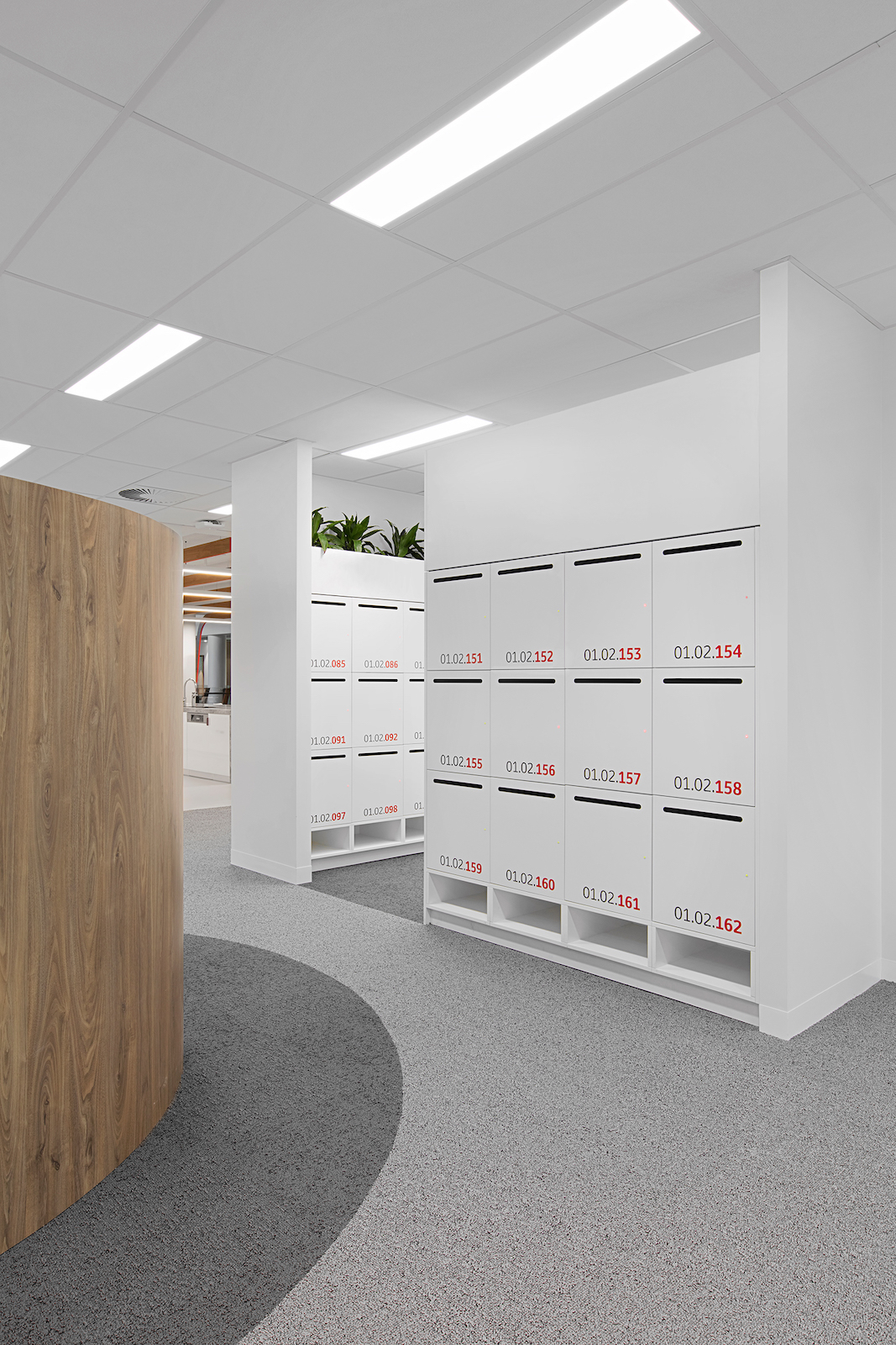 Laminate lockers with mail chute at Toyota