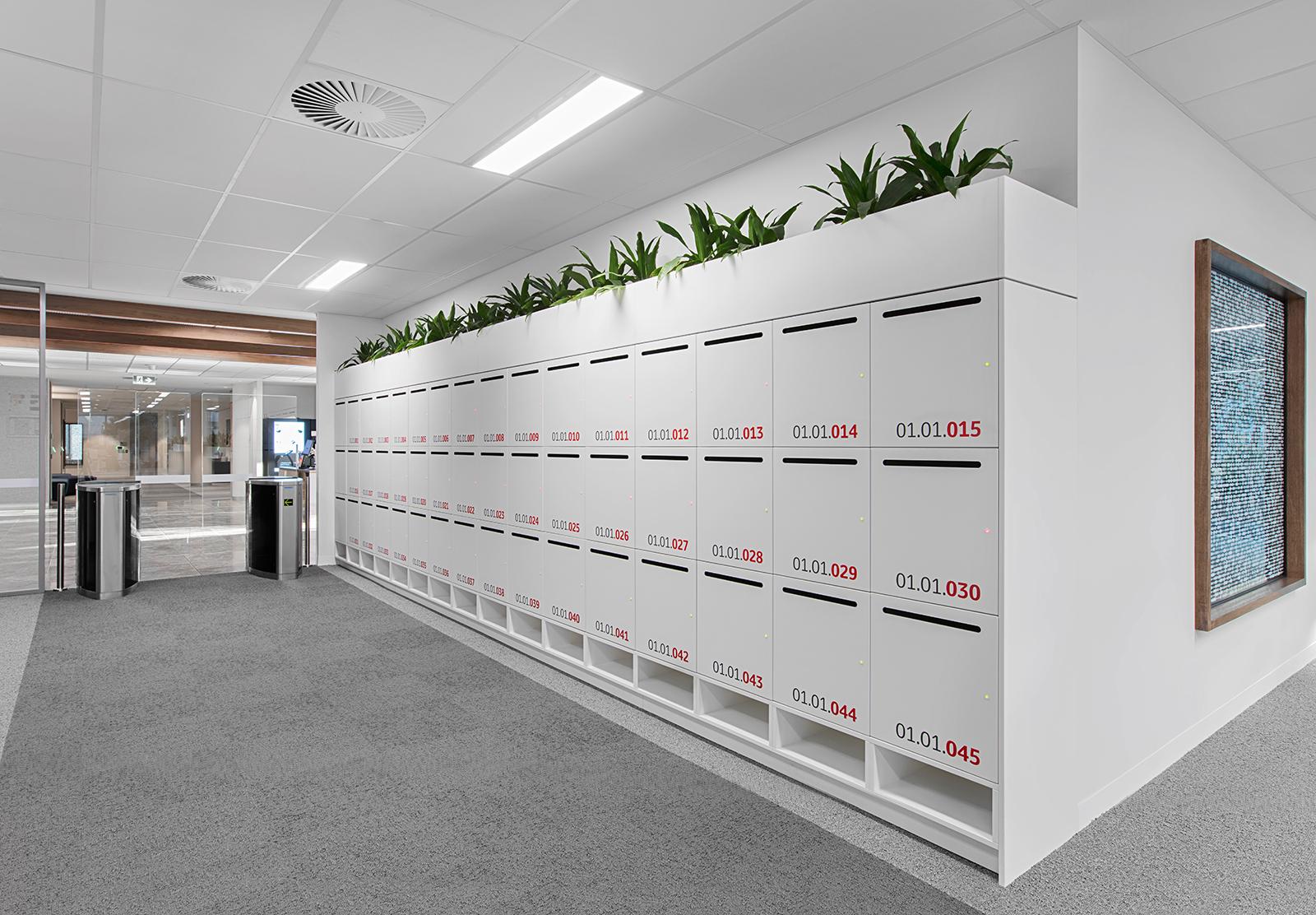 White laminate lockers at Toyota Australia