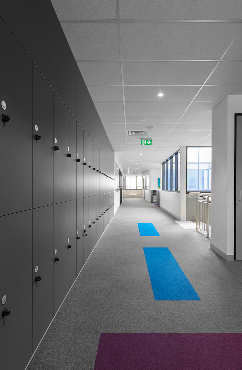 School lockers in the corridor at Southern Cross Grammar