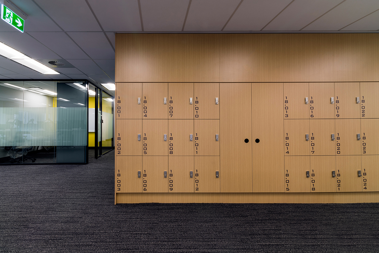 combination lock on a custom wood locker at IRESS