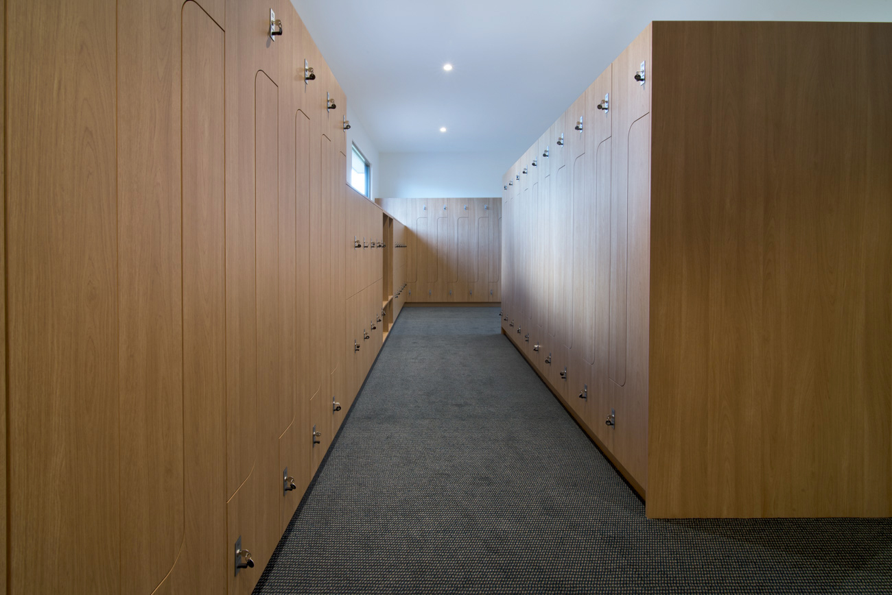 Timber grain laminate lockers