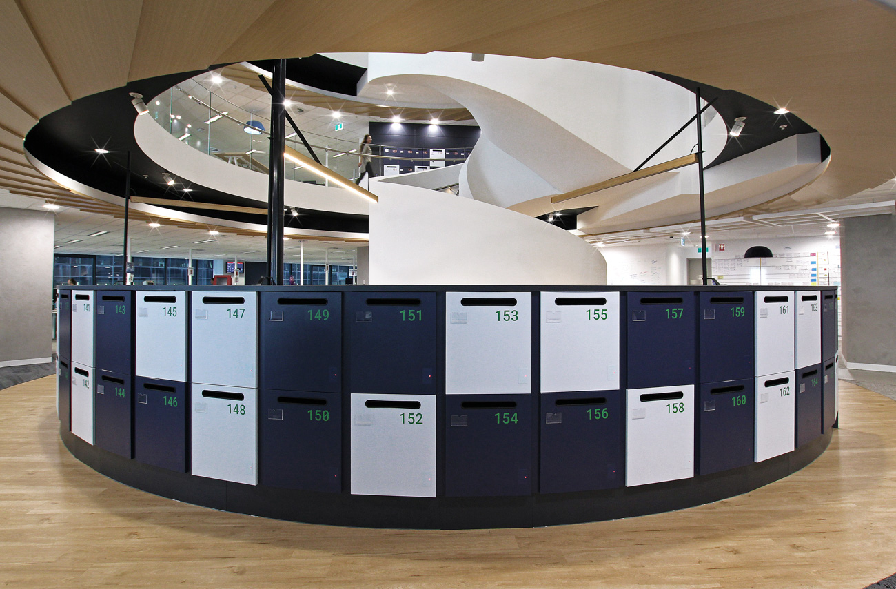 Curved lockers at Tabcorp