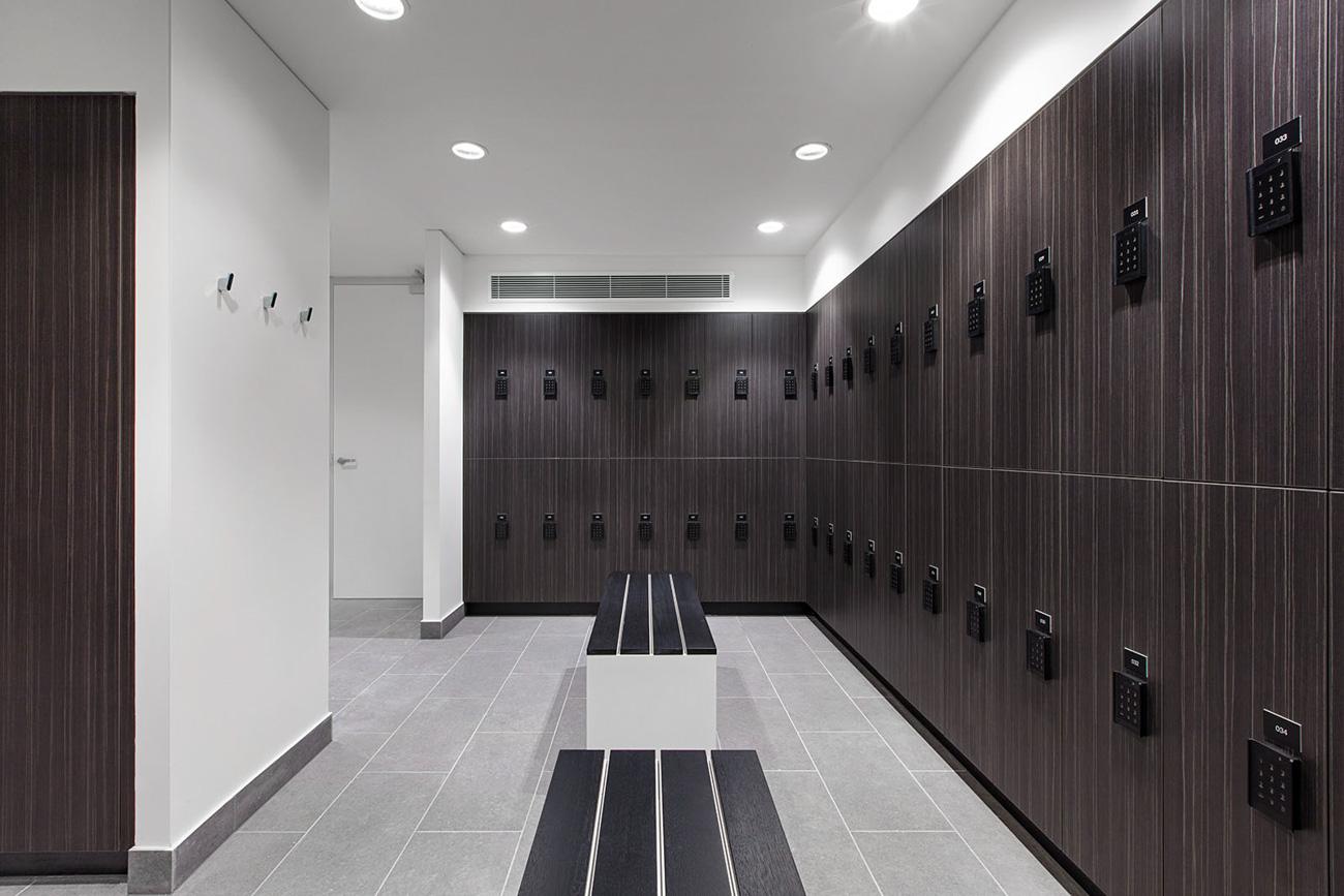 Bathroom and lockers at 1 Nicholson Street