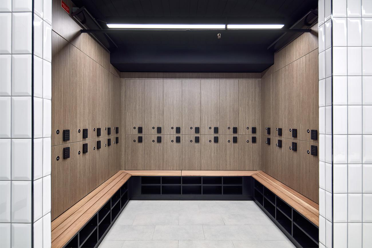 Change room lockers at 40 River Boulevard