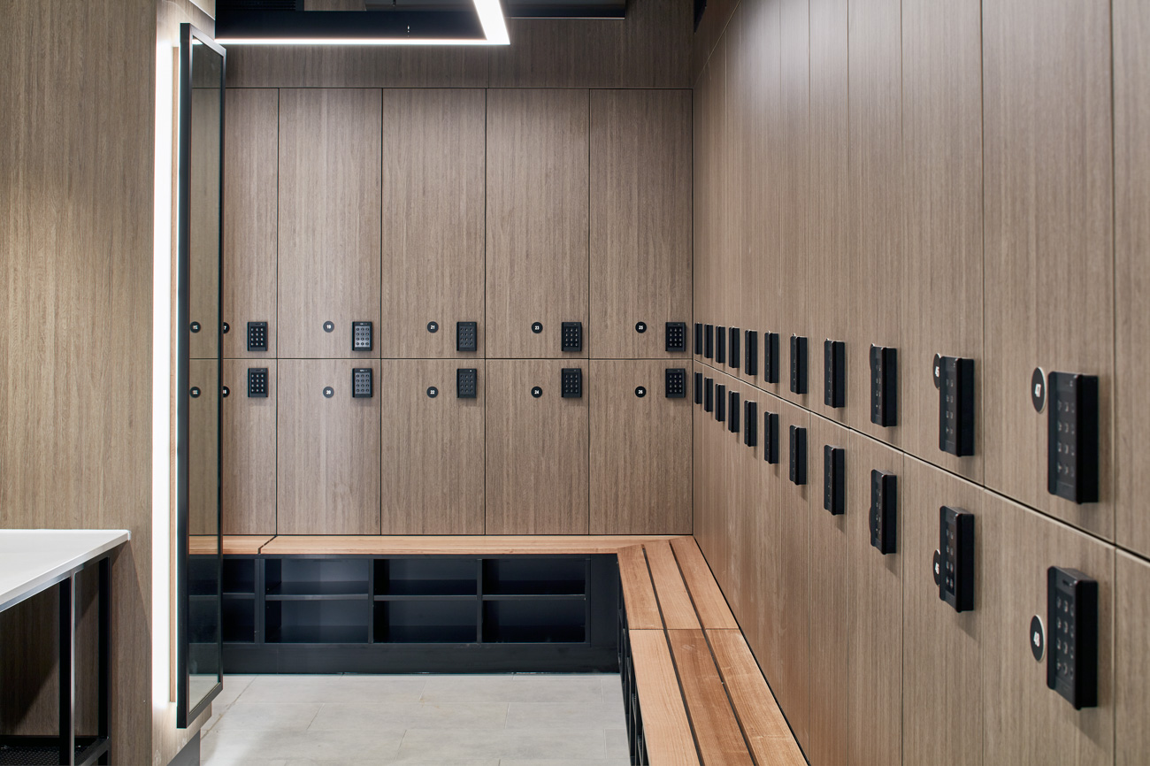 Laminate lockers with attached bench seat at 40 River Blvd
